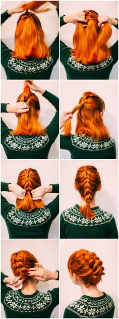Faux braid updo for shorter hair
