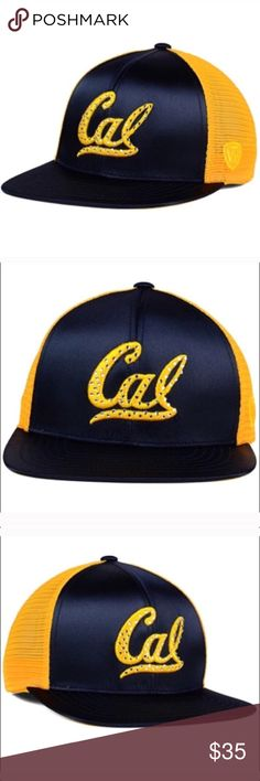 California golden bears satin SnapBack hat The California Golden Bears Top of the World NCAA Women's Big Satin Snapback Cap will make a fabulous addition to your wardrobe and/or collection. which features team colors in beautiful satin in front and the traditional logo outlined in gem studs.  Color: Navy/gold Material: Made of 100% Polyester, Woven Departments:  Snapback,Adjustable Primary Logo:  Raised Embroidery Brand on Front Middle  Crown:  High  Closure:  Snap  Fit:  Structured  Bill…