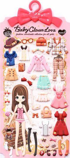 business woman office wear girl dress up doll 3D stickers 2