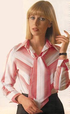 1977 office wear - blouse and matching wide tie