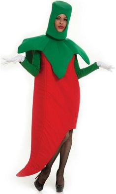 Hot Chili Pepper Adult Costume Description: Spice it up! Raise the temperature and make the party too hot to handle dressed as a hot chili pepper this Halloween! Funny Adult Costumes, Food Costumes, Halloween Costumes For Kids, Costumes For Women, Costume Ideas, Vegetable Costumes, Vegetable Crafts, Red Chili Peppers, Hottest Chili Pepper