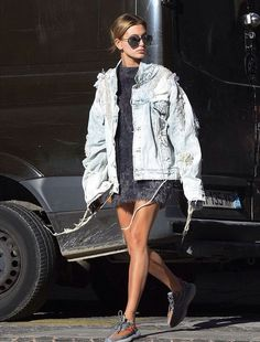 Hailey Baldwin rocking an oversized denim jacket.