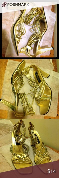 Gold ankle strap sandals Never work but looks like it oxidized on certain straps. Don't know how when it has been stored away in a box since Shoes Heels