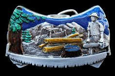 LUMBERJACK OLD HANDSAW CHAINSAW FOREST BELT BUCKLE BELTS BUCKLES #CoolBuckles #Lumberjack #handsaw #chainsaw #beltbuckle