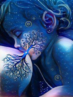 TREE of LIFE - Cha Wakan x 11 print of beautiful & colourful earth mother artwork, rebirth pregnant rainbow blue red green yellow orange Art Visionnaire, Breastfeeding Art, Psychadelic Art, Mother Art, Goddess Art, Visionary Art, Love Art, Body Painting, Art Inspo