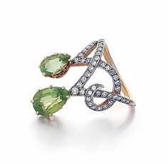 SOLD - An Antique Edwardian Peridot & Diamond Ring