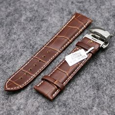 Fashion Watchstrap 18mm/20mm/22mm Business Genuine Real Leather Watch Band Strap Hidden Clasp for Hour Clock Replacement PD012