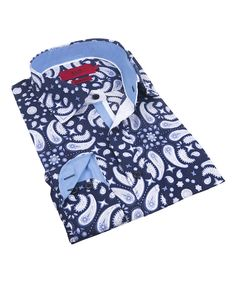 Navy & White Paisley Contrast-Cuff Button-Up - Toddler & Boys