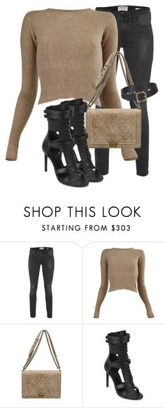 """""""Untitled #3425"""" by xirix ❤ liked on Polyvore featuring Frame Denim, Lemaire, Chanel and BOSS Black"""