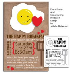 The Happy Breakfast event poster design and word art with matching invitation