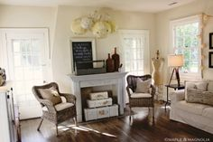 wicker chairs in living room! looks fantastic