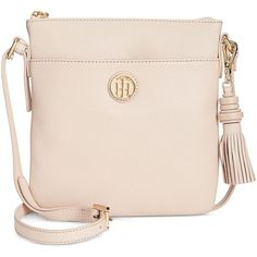 Tommy Hilfiger Summer of Love North South Crossbody (1,825 MXN) ❤ liked on Polyvore featuring bags, handbags, shoulder bags, blush, pocket purse, tommy hilfiger handbags, tommy hilfiger shoulder bag, pink shoulder bag and tommy hilfiger