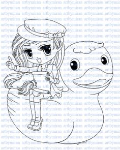 Digital StampAll Aboard Digi Stamp Coloring page by artbymiran, $2.00