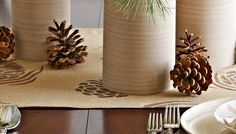 Table runner with a stenciled pinecone design- same page has patterns for leaf and star