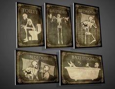 Skeletten naambordje Toilet badkamer Wasserij van TotalLost op Etsy
