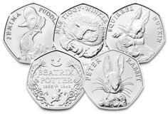 Beatrix Potter 2017 and 2018 all coins are available. Designed by Emma Noble, these coins celebratethe best-loved characters behind the Beatrix Potter book series. AddedT ale of Peter rabbit, Peter rabbit 2017 coins are unc from a seal bag. Rare 50p Coins Value, 50p Coin Value, Rare British Coins, Rare Coins, Beatrix Potter, Money Notes, Valuable Coins, Coin Worth, Benjamin Bunny