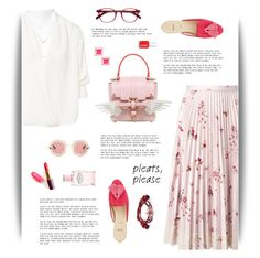 """""""Pink & Pleats"""" by cara-mia-mon-cher ❤ liked on Polyvore featuring RED Valentino, BA&SH, Niels Peeraer, Alexander White, Kate Spade, Gucci, Prada, Shourouk and EyeBuyDirect.com"""