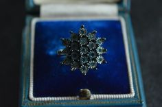 Gemporia Solid Sterling Silver Blue Diamond Cluster Ring, Size J, 925