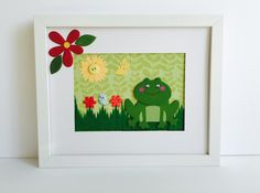 Cute Green Frog, Colorful Girl Frog,Nursery Girl Room,Wall Green Frog, Green Frog Framed. by GaviotaDecoupage on Etsy