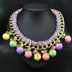 Fashion-forward #Jewelry #Necklace, with Multi-colored #Pearls.