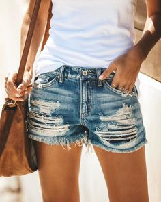 33e395cb17 30 Best Distressed shorts images | Fashion clothes, Lace, Shorts