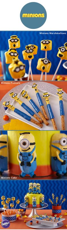 They're mischievous but cute and they want to be at your next party! These 3 Minions project ideas are easy and fun, and will sure be a hit with your guests. Try some despicable and delectable dipped marshmallows; crunchy and sweet dipped pretzels, and a cake that's double the fun! Guests can take home their own mini cake as a party favor!