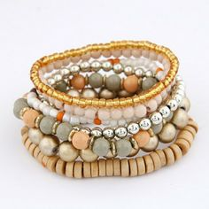 National Wind Mix Color Beads Multi Layer Elastic Bracelet ( Yellow )