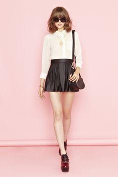 Corinne Crochet Blouse and Varsity Moto Skirt