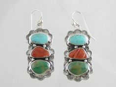 Sterling Silver Turquoise & Spiny Oyster Shell Earrings for $258.00   Native American Jewelry