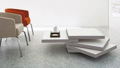 Coffee Table with Trays Swivel, Rotor by Luciano Bertoncini