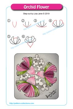 Orchid Flower by Lisa Jane Tangle Doodle, Tangle Art, Doodles Zentangles, Zen Doodle, Zentangle Patterns, Doodle Art, Doodle Drawings, Easy Drawings, Flower Doodles