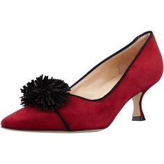 Manolo Blahnik Ninaf Point-Toe Pom Pom Pump, Red ($519) ❤ liked on Polyvore featuring shoes, pumps, pointy toe pumps, red mid heel shoes, red pumps, red suede shoes and pom pom pumps
