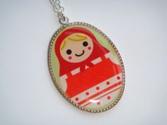 Large Russian Doll Cameo Charm Necklace from Indie Meadow by DaWanda.com
