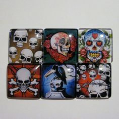 6 Skull Print Glass Domes set 1 30mm Perfect for by NippedAndCut, $7.25