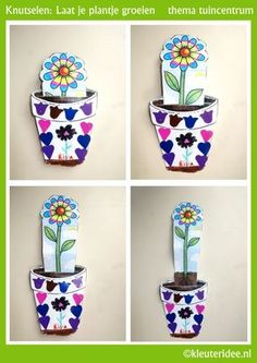 """cute growth concept- maybe """"water"""" it to make it grow? Cute Crafts, Kids Crafts, Diy And Crafts, Paper Crafts, Spring Activities, Kindergarten Activities, Activities For Kids, Spring Crafts For Kids, Diy For Kids"""