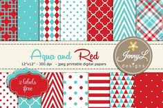 Aqua and Red Digital Paper Graphics These Aqua and Red Printable Digital background papers are ideal for creating various art projects by JennyL Designs Design Shop, Web Design, Freebies, Digital Scrapbooking, Digital Papers, Baby Baptism, Aqua Blue, Pink Bg, Red And Teal