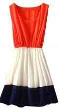 Orange White Navy Sleeveless Bandeau Chiffon Dress $30.48