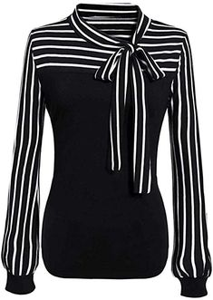 87fbe152251 online shopping for Zeagoo Ladies Tie-bow Neck Striped Long Sleeve Splicing  Autumn Shirt from top store. See new offer for Zeagoo Ladies Tie-bow Neck  ...