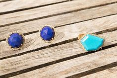 Janna Conner fine jewelry Lapis rose cut earrings and turquoise cubist ring.