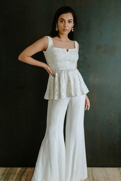 Buy Hand Embroidered Top with Flared Pant by Mishru at Aza Fashions Party Wear Indian Dresses, Designer Party Wear Dresses, Dress Indian Style, Indian Fashion Dresses, Indian Wedding Outfits, Indian Designer Outfits, Indian Outfits, Fashion Outfits, Stylish Dress Designs