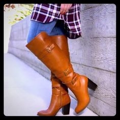 "Cognac Knee Boots Never worn ShoeDazzle Nikka Knee Boots MATERIAL: Faux-leather. Imported. FIT: True to size OUTSIDE HEEL HEIGHT: 3.5"" SHAFT HEIGHT: 17"" CALF CIRCUMFERENCE: 14.5"" CLOSURE: Functional inner zip Shoe Dazzle Shoes Heeled Boots"