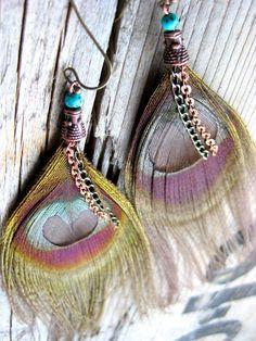 ☯☮ॐ American Hippie Bohemian Style ~ Boho Earrings Feather