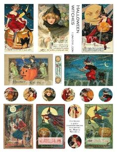 HALLOWEEN WITCHES collage sheet digital DOWNLOAD vintage images Victorian postcards altered art ephemera
