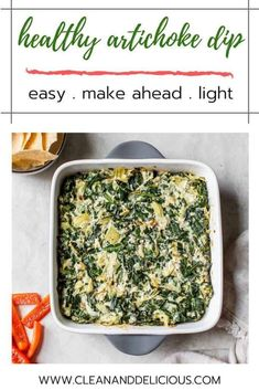 This healthy artichoke dip is a blend of cooked collard greens, two types of cheese and artichokes, all baked together to melted cheesy perfection. An easy make-ahead party snack that's sure to be a crowd pleaser. Hot Appetizers, Vegetarian Appetizers, Vegetarian Recipes, Healthy Recipes, Delicious Recipes, Healthy Sweets, Vegetable Recipes, No Dairy Recipes, Dip Recipes