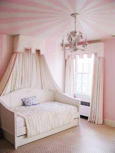 pink radial stripes on ceiling in girls bedroom