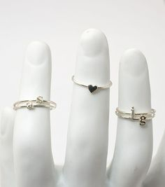 Catbird Alphabet Rings - Silver. Could do d♥w and maybe some cute little plainer ones on the outsides, maybe just dlw, or could do d The possibilities are endless! $56.00 each.