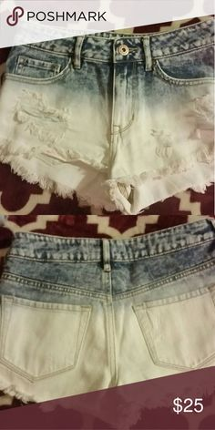 Denim shorts Really cute white and blue denim shorts.  Size 3 these are high rise shorts.  I just took the tags off of these the other day.  I've never worn them because they were to small.  Make me any offer I accept all everthing must go. Bullhead Shorts