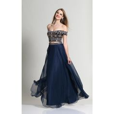 Dave and Johnny 2224 Prom Long Dress Long  Sleeveless ($368) ❤ liked on Polyvore featuring dresses, gowns, formal dresses, navy blue, formal gowns, two piece prom dresses, long dresses, formal evening dresses and prom gowns