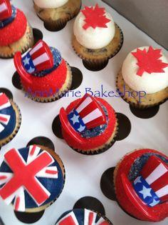 American, Canadian, British Birthday Cupcakes