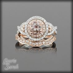 Morganite Rose Gold Engagement Ring and Wedding Band Set with Diamond Double Halo, Twisted Shank and Contoured Diamond Wedding Band - LS2243 // sweet God in heaven.